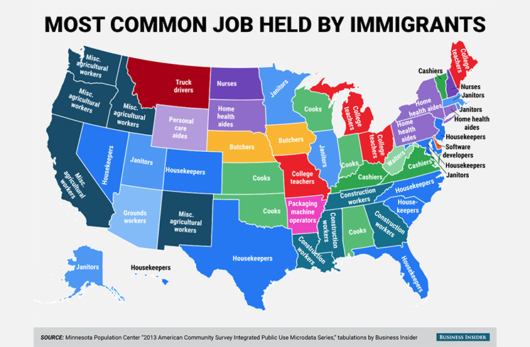 Mapping Stereotypes: Immigrant Jobs in the US